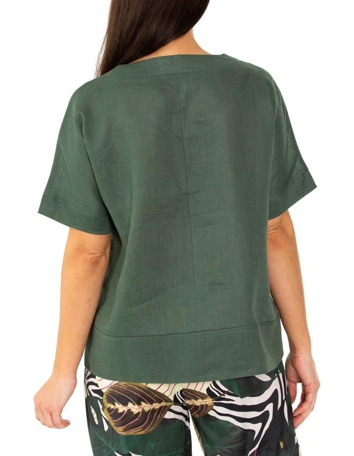 Elbow Boxy Linen Top Seaweed image 2