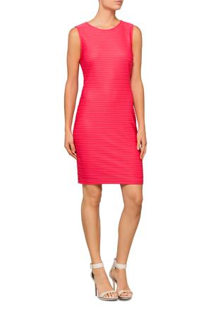 Calvin Klein White - Sleeveless Sheer Stripe Dress
