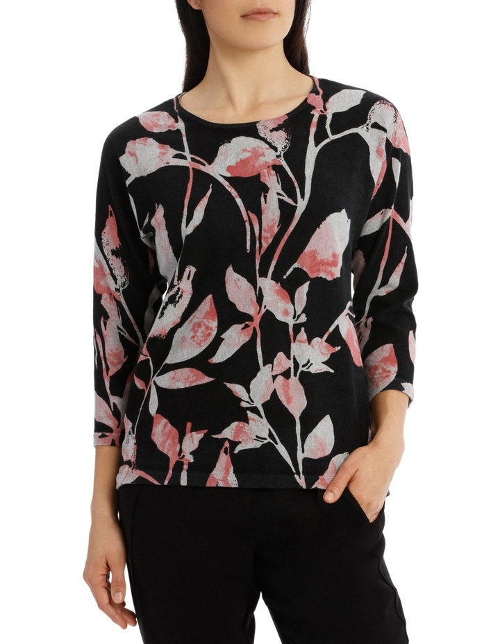 7/8 Dolman Sleeve Printed Leaf Pullover image 1