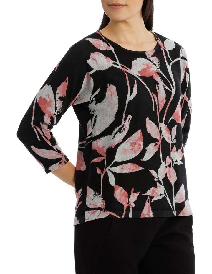 7/8 Dolman Sleeve Printed Leaf Pullover image 2