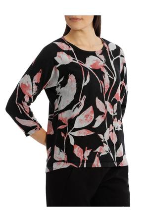 Jump - 7/8 Dolman Sleeve Printed Leaf Pullover