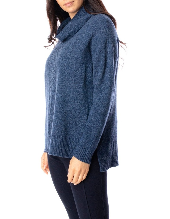 Long Sleeve Roll Neck Cable Pullover image 3