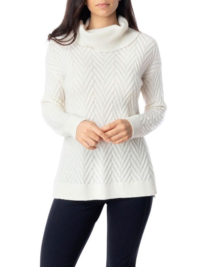 Long Sleeve Zig Zag Stitch Pullover image 1