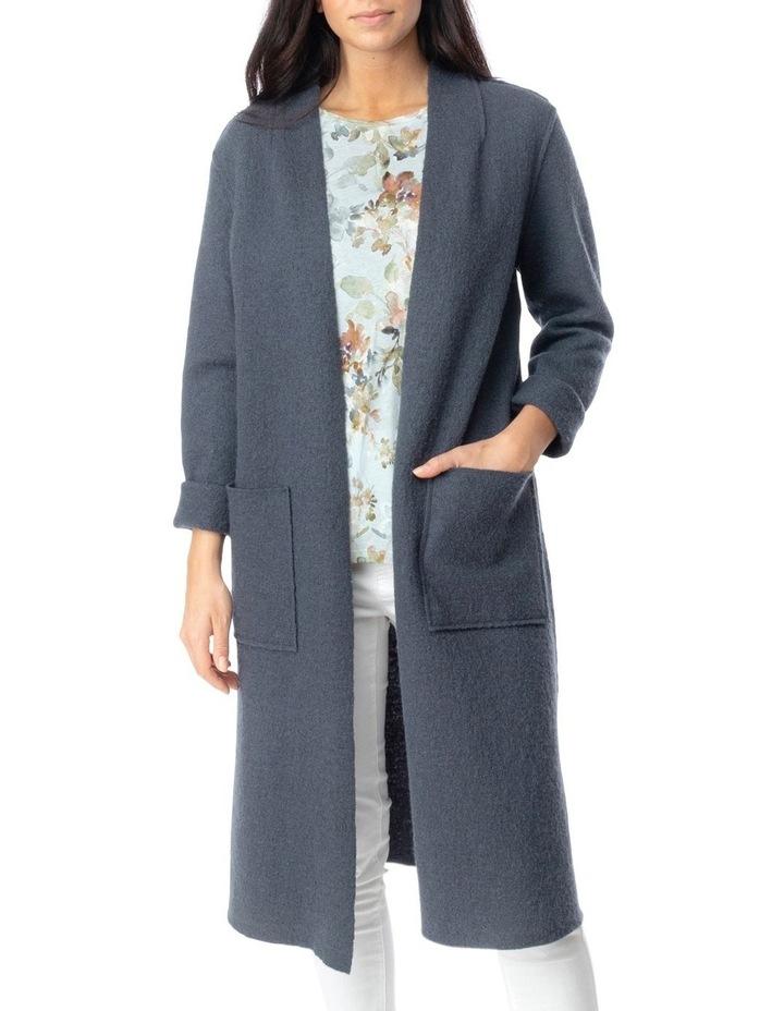 Long Sleeve Boiled Wool Coatigan image 1
