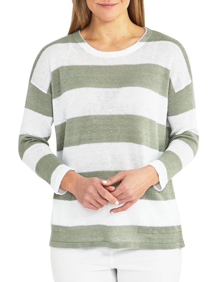 Block Stripe Sage/White Knit Pullover image 1