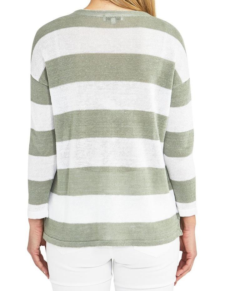 Block Stripe Sage/White Knit Pullover image 2