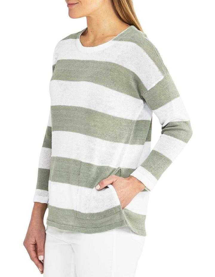 Block Stripe Sage/White Knit Pullover image 3