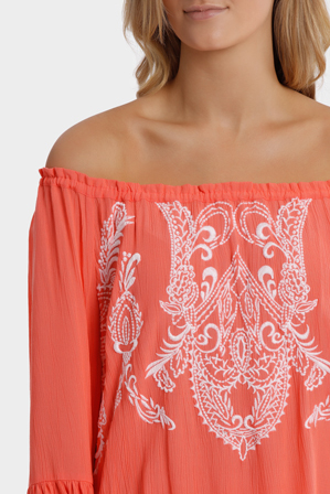 Jump - Off The Shoulder Embroidered Top
