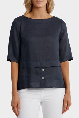 Jump - S/Sleeve Button Detail Linen Top