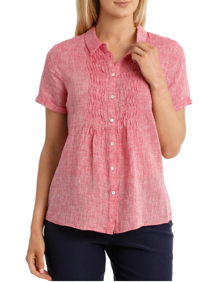 Short Sleeve Pintuck Linen Shirt image 1