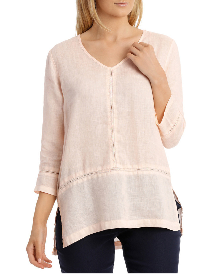 3/4 Sleeve V Neck Linen Top image 1