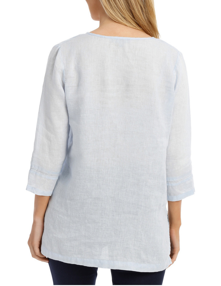 3/4 Sleeve V Neck Linen Top image 3