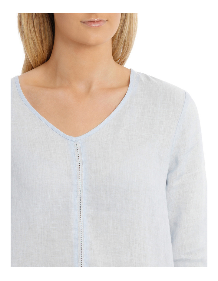 3/4 Sleeve V Neck Linen Top image 4