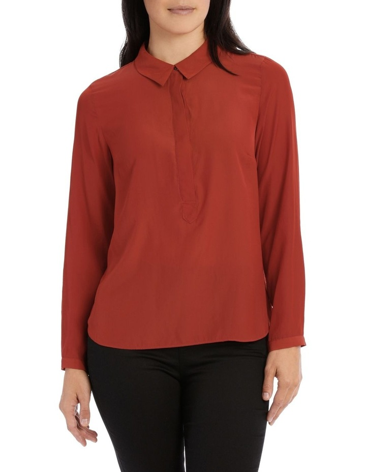 Curved Hem Collared Top image 1