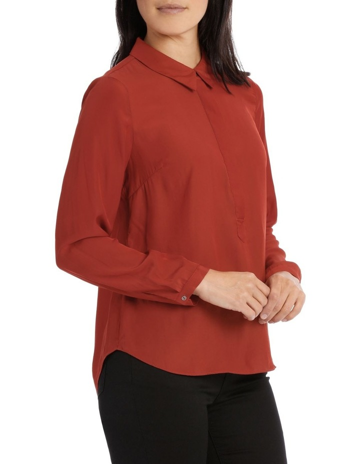 Curved Hem Collared Top image 2