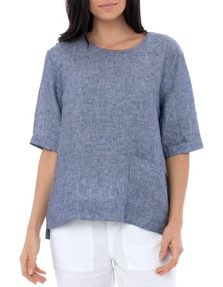 1/2 Slv Pocket Linen Top image 1