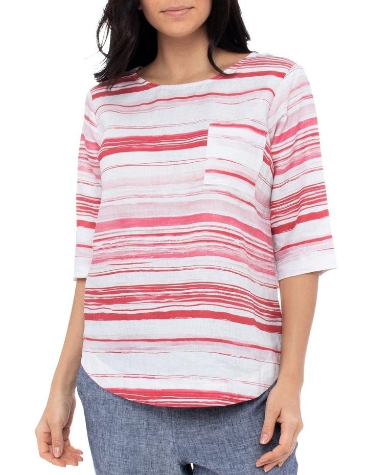 3/4 Sleeve Brushtroke Linen Top image 1