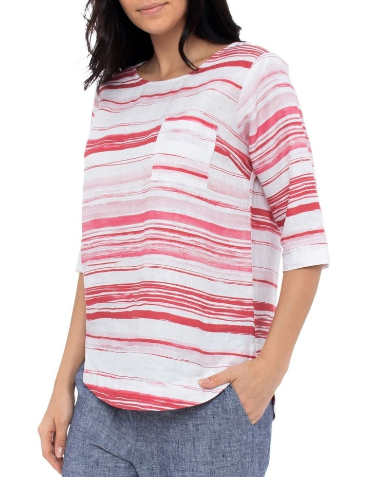 3/4 Sleeve Brushtroke Linen Top image 2