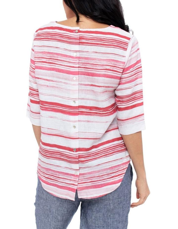 3/4 Sleeve Brushtroke Linen Top image 3