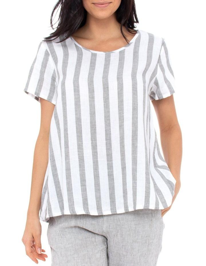 Short Sleeve Stripe Swing Top image 1