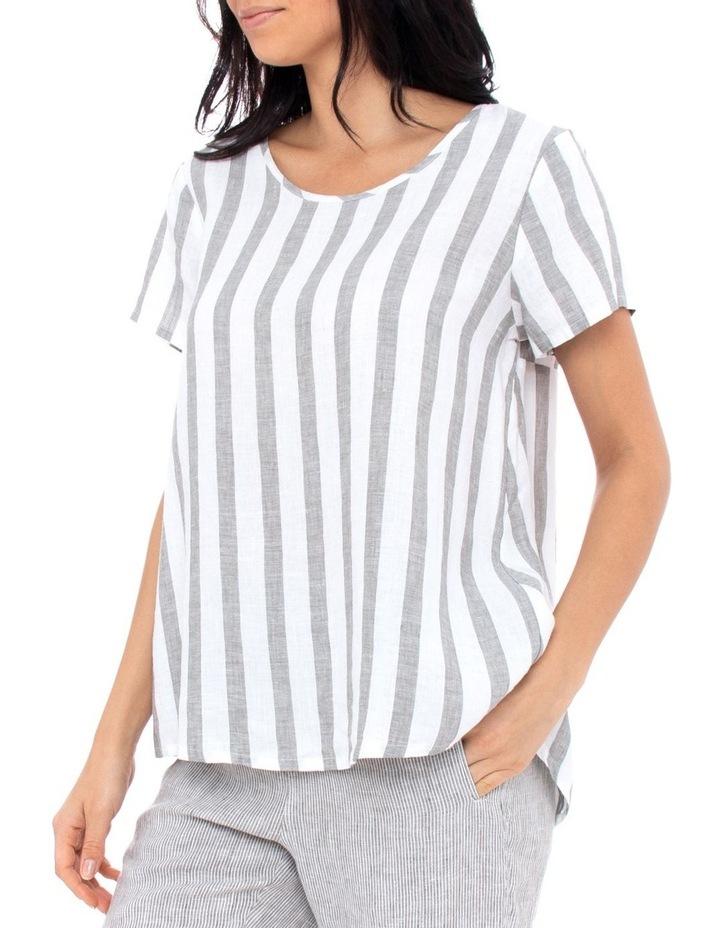 Short Sleeve Stripe Swing Top image 2