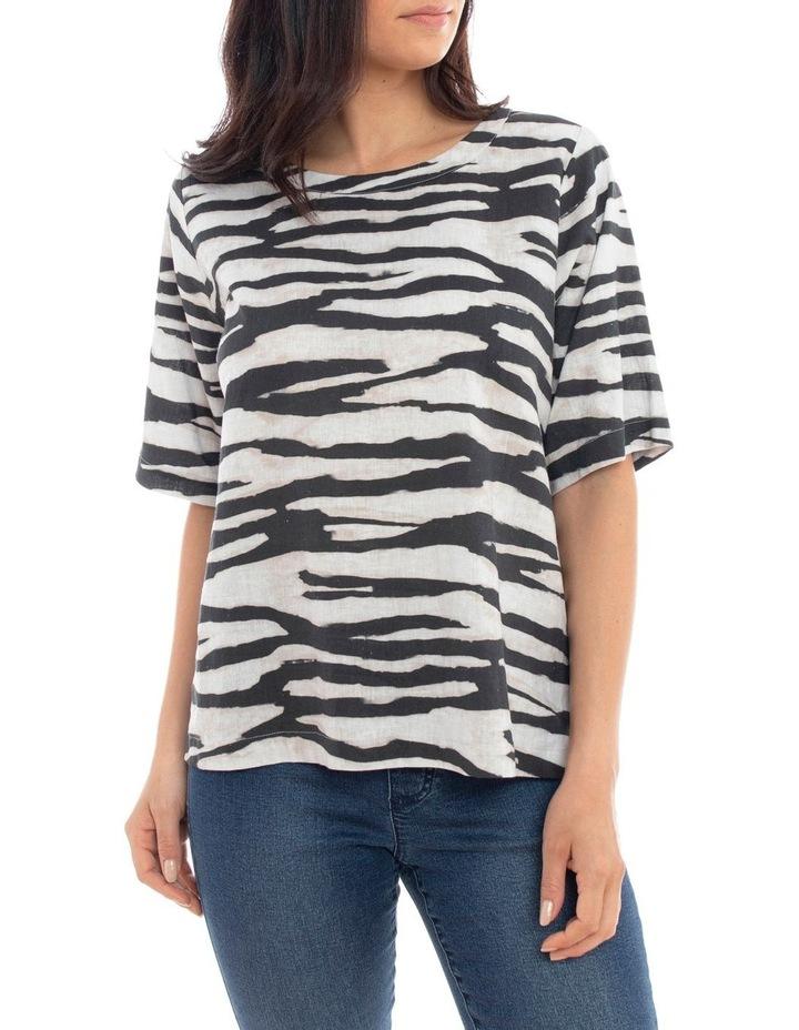 Short Sleeve Abstract Zebra Top image 1