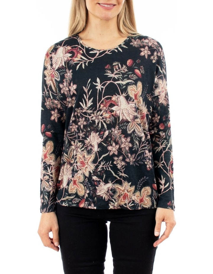 Tapestry Floral Long Sleeve Linen Top image 1