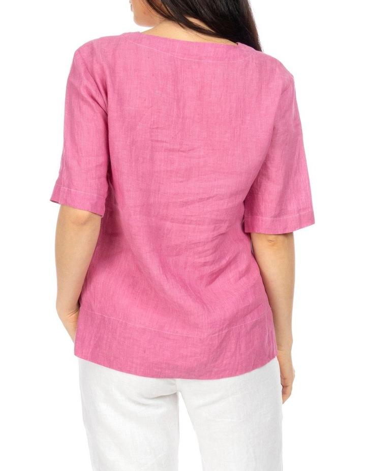 1/2 Sleeve Boxy Linen Top image 4