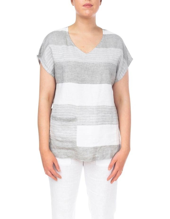 Block Stripe Linen Top image 1