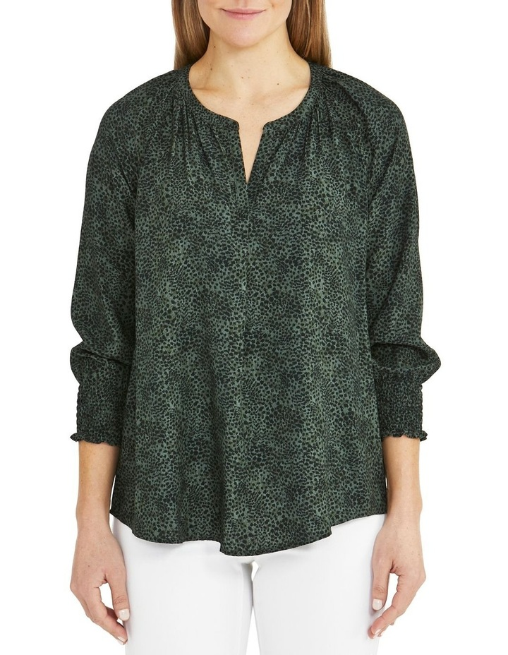 Leopard Swirl Long Sleeve Shirt Khaki image 1