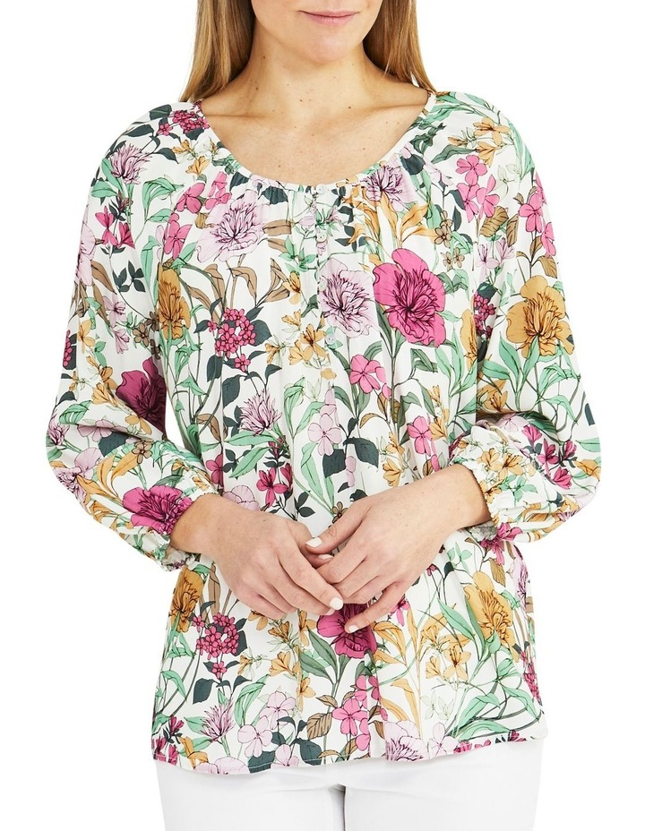 Spring Floral Long Sleeve Top Cream image 1