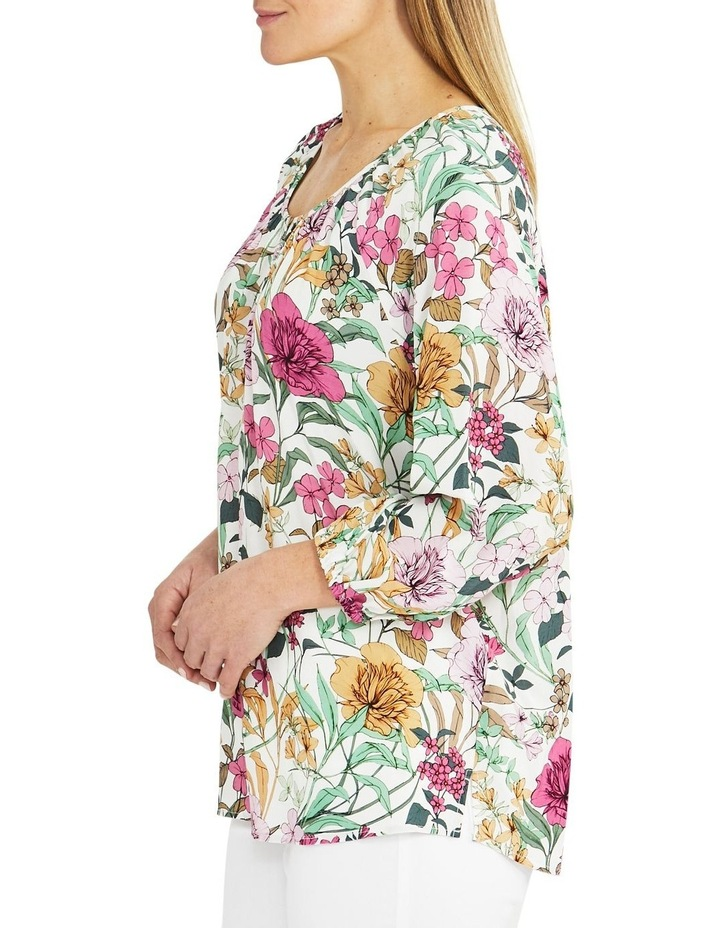 Spring Floral Long Sleeve Top Cream image 3