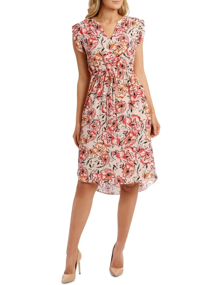 Tie Waist Ruffle Slve Floral Dress image 1