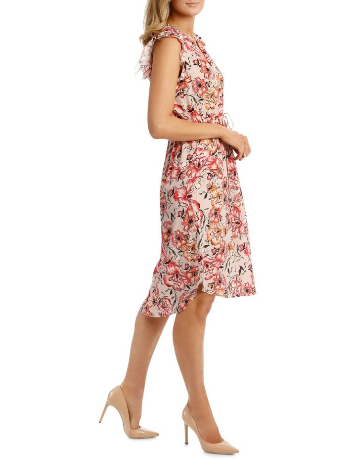 Tie Waist Ruffle Slve Floral Dress image 2