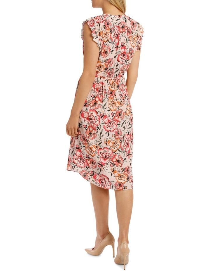 Tie Waist Ruffle Slve Floral Dress image 3