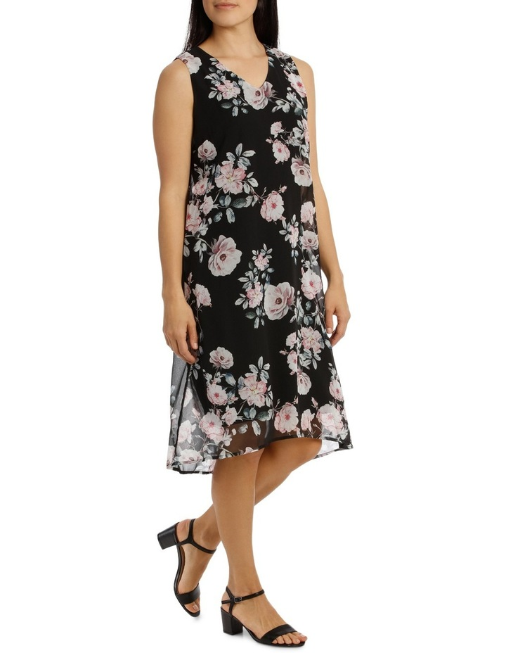 Sleeveless Hi/Lo Rose Print Dress image 2
