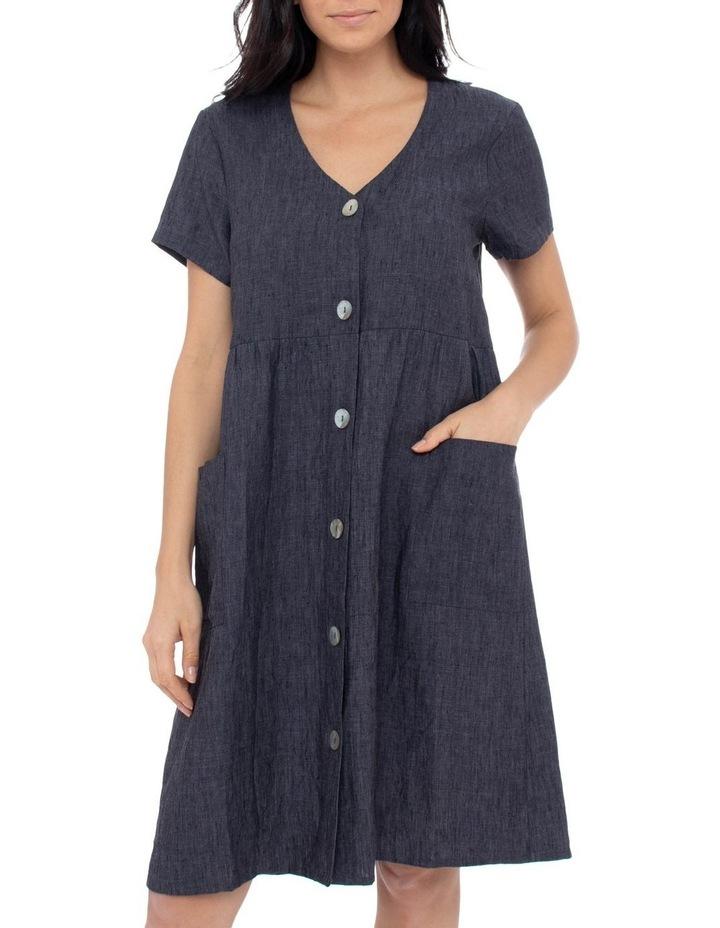Short Sleeve Button Thru Linen Dress image 1