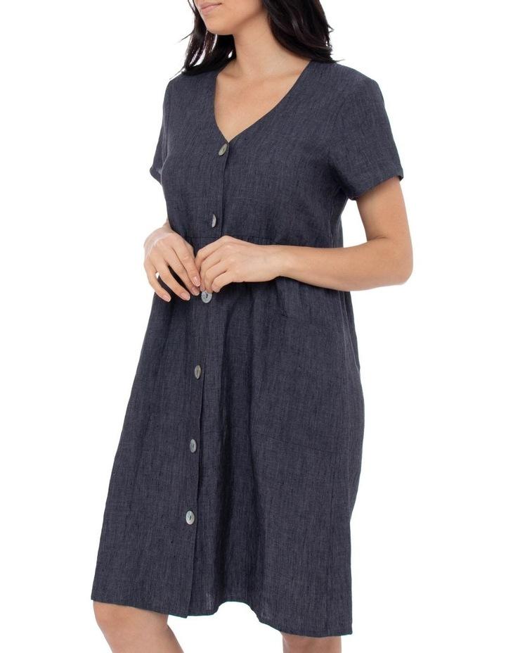 Short Sleeve Button Thru Linen Dress image 2