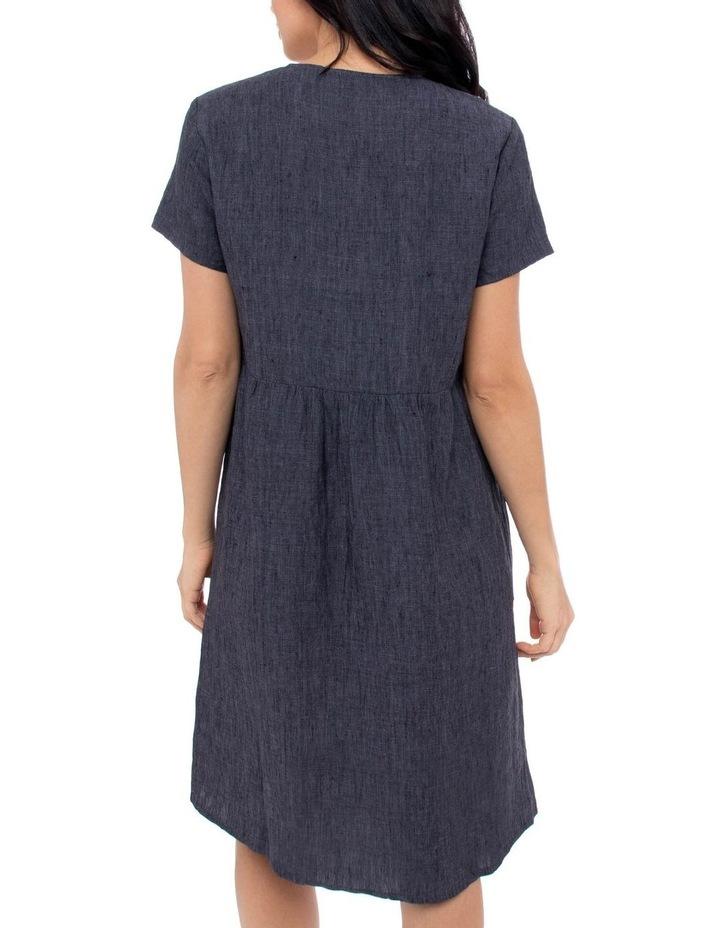 Short Sleeve Button Thru Linen Dress image 3