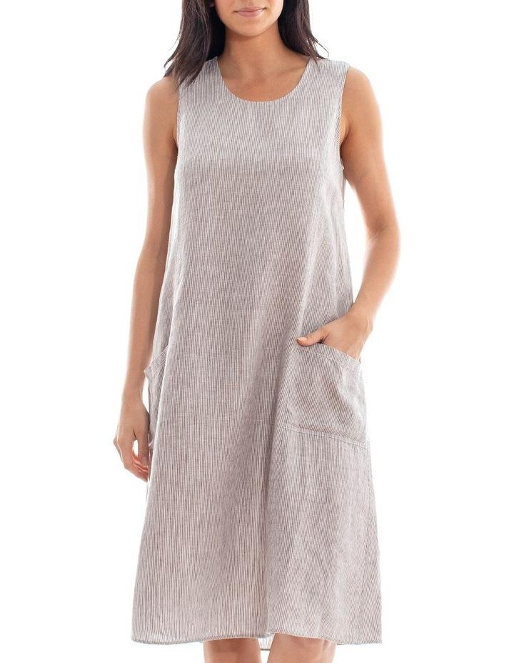 Sleeveless Stripe Linen Dress image 1