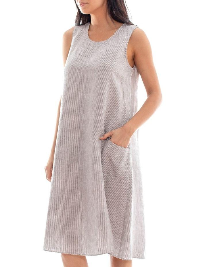 Sleeveless Stripe Linen Dress image 2