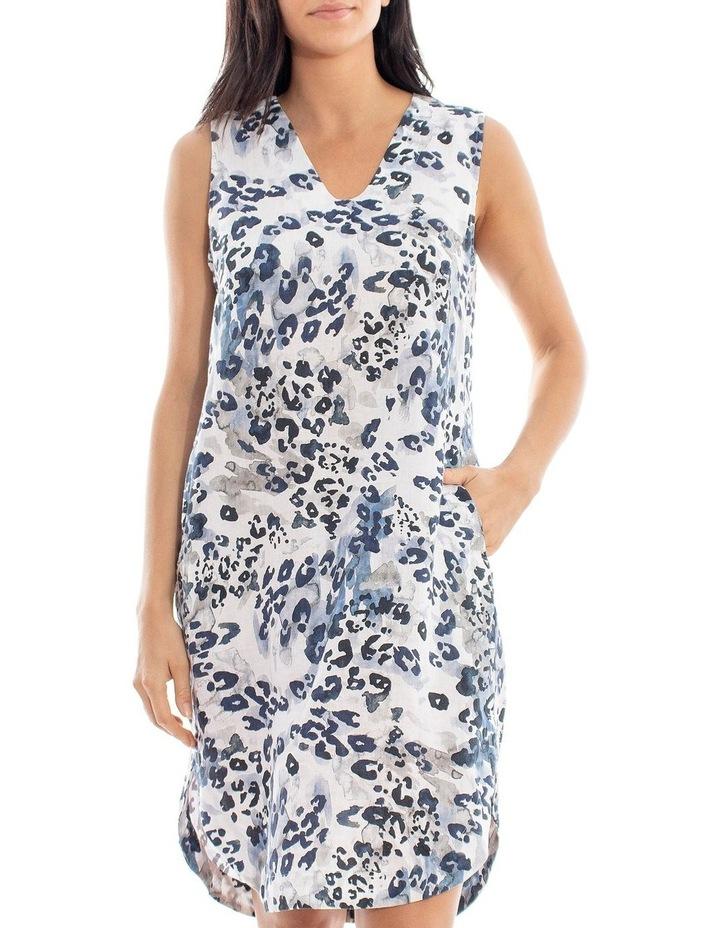 Sleeveless Animal Print Linen Dress image 1