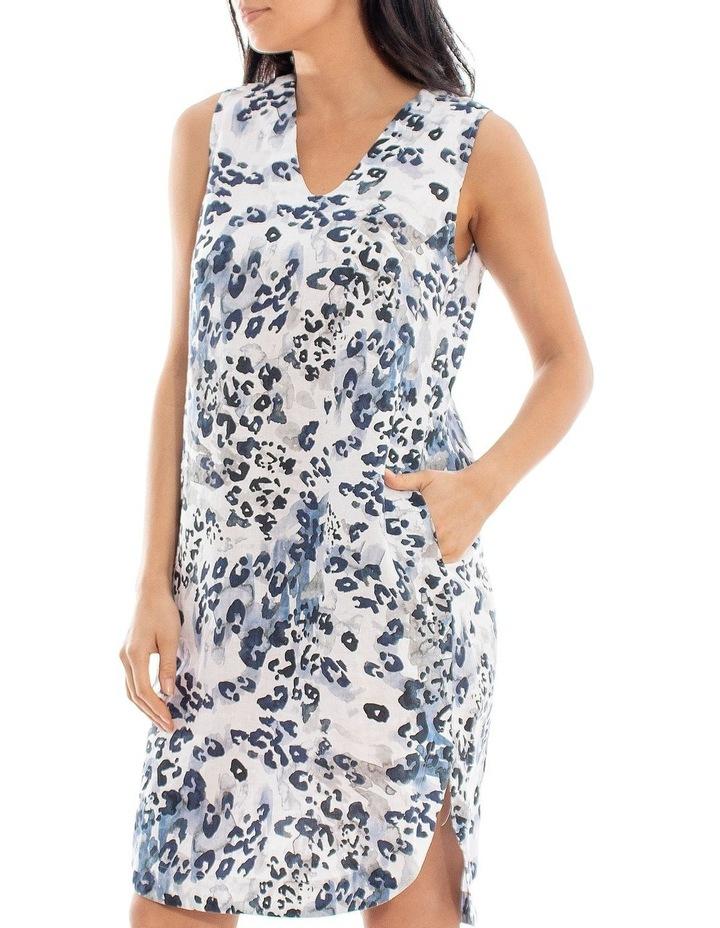 Sleeveless Animal Print Linen Dress image 2