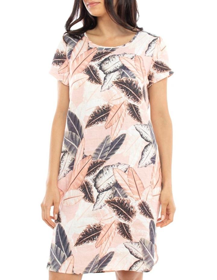 Linen Leaf Print Dress image 3