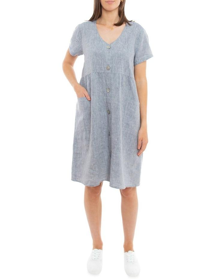 Sleeveless Button Thru Linen Dress image 1