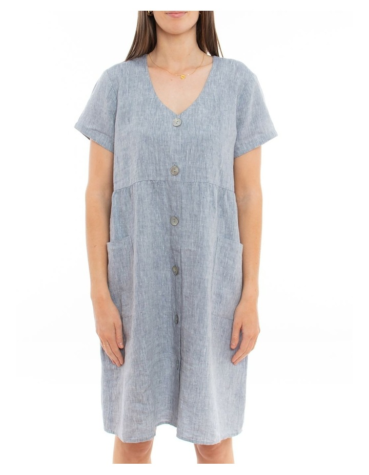 Sleeveless Button Thru Linen Dress image 2