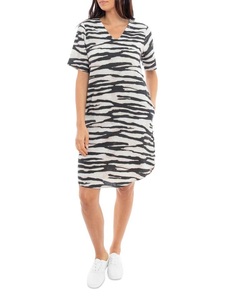 Short Sleeve Abstracty Zebra Dress image 1