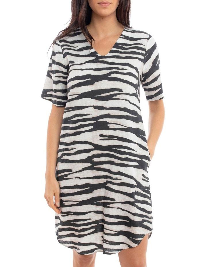Short Sleeve Abstracty Zebra Dress image 2