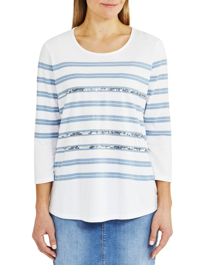 Stripe Sequin Tee White image 1