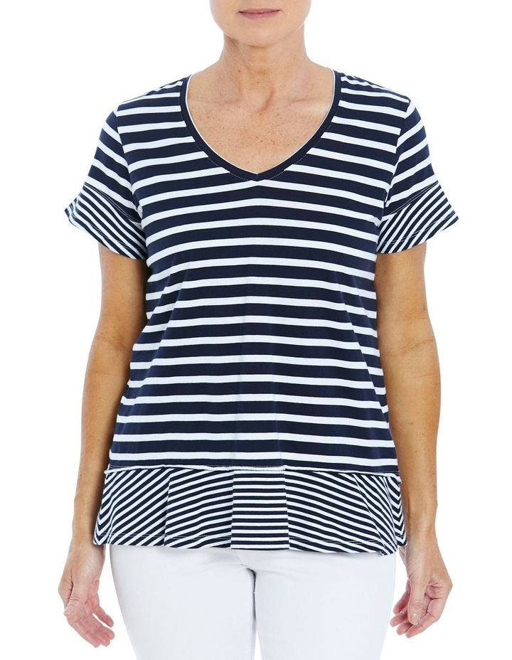 Stripe Ruffle Tee Navy/White image 1